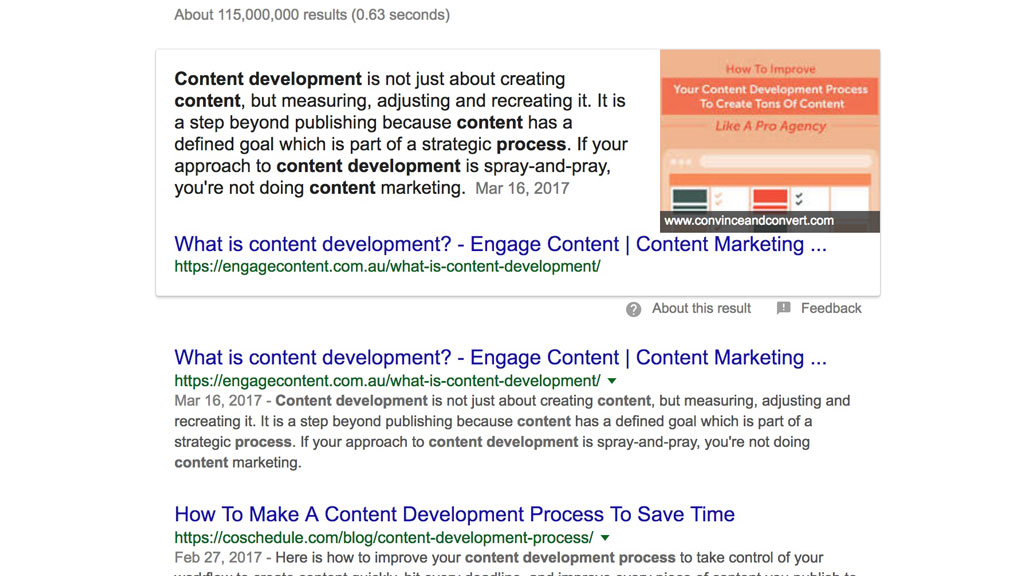 keywords in content development